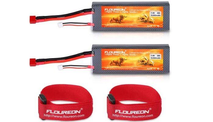 FLOUREON 2S Lipo Battery 30C 5200mAh Rechargeable RC Battery