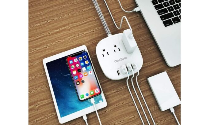 OneBeat Power Strip With Long Braided Extension Cord