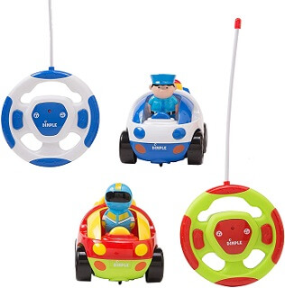 Dimple Cartoon Remote Control Police and Racing Car Set for Kids
