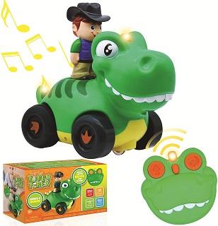 JOYIN Radio Control Toddler Cartoon Dino Race Car Toys with Music and Sound
