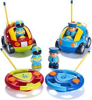 Prextex Pack of 2 Cartoon Police Car Radio Control Toys for Kids