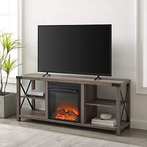 Walker Edison Faye Modern Farmhouse Metal X Fireplace TV Stand