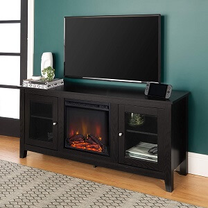 Walker Edison WE Furniture Traditional Wood Fireplace Stand for TV